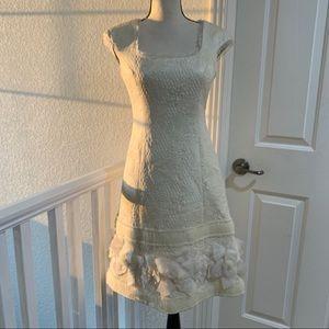 Badgley Mischka Dress Cream Formal Like New XS EUC